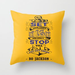 Set your goals high Bo Jackson Inspirational Sports Typographic Quote Art Throw Pillow