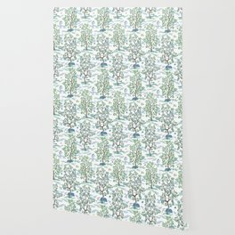 CitrusGrove Toile in White Wallpaper