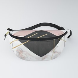 Rose Marble Triangle Art | Geometry Wall Decor | Polygonal Modern Minimalist Abstract Shapes Fanny Pack