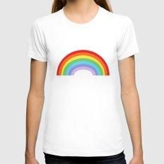 Rainbow MEDIUM Womens Fitted Tee White