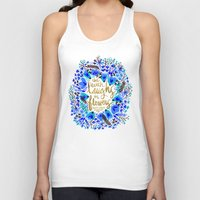 waldo Tank Tops featuring The Earth Laughs in Flowers – Gold & Blue by Cat Coquillette