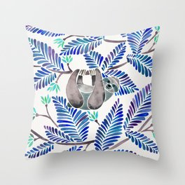 Happy Sloth – Tropical Blue Leaves Throw Pillow