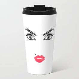 Printable Art,Makeup Face,Makeup Illustration,Lips Print,Eyelashes Print,Bathroom Decor,For Her Travel Mug