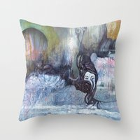 cocaine Throw Pillows featuring She Said It Was Just Cocaine by Jess & Keegan