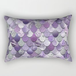 Mermaid Purple and Silver Rectangular Pillow