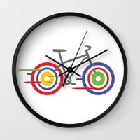 bike Wall Clocks featuring Bike! by Alice Wieckowska