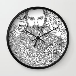 Tattooed with Roses Wall Clock