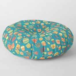 Vintage tea party - tea cups and sweets - teal Floor Pillow