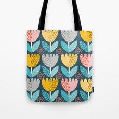 retro blue floral Tote Bag