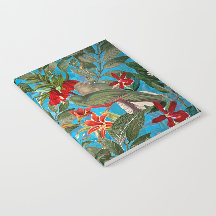 Vintage & Shabby Chic - Tropical Birds and Orchid  Aloha Jungle Flower Garden Notebook