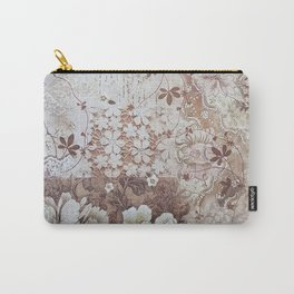 Rustic vintage ivory brown lace floral typography Carry-All Pouch