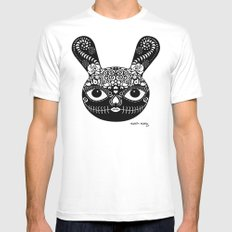 Day Of The Dead Bunny White MEDIUM Mens Fitted Tee