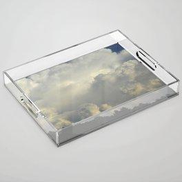 White Cloudscape Acrylic Tray