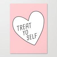 treat yo self Canvas Prints featuring Treat Yo Self by Evelyne van den Broek
