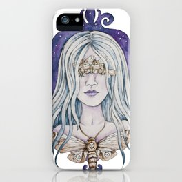 Gothic watercolor universe moth woman iPhone Case