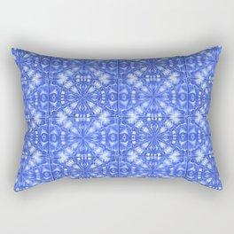 Fountain Blue Tile Pattern Rectangular Pillow