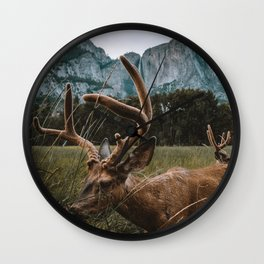 Deer in Yosemite Valley Wall Clock
