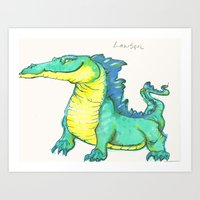 nan lawson Art Prints featuring Lawson the existent dragon by Tara Dragon