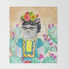 Kitty Kahlo Throw Blanket