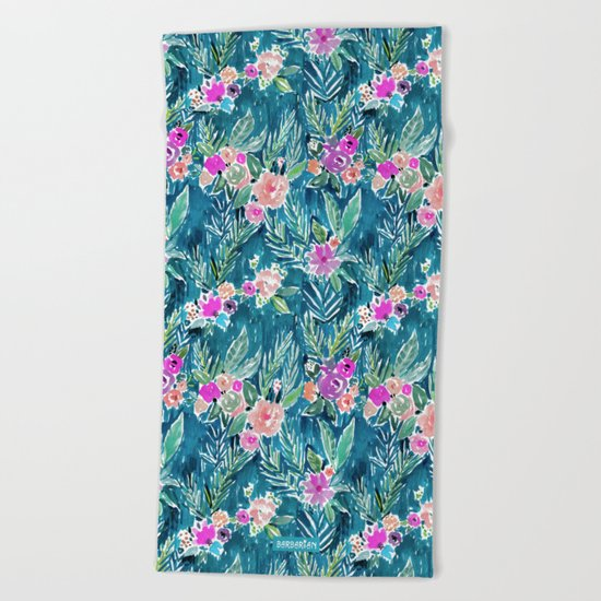 NAVY PARADISE FLORAL Tropical Hibiscus Palm Pattern Beach Towel