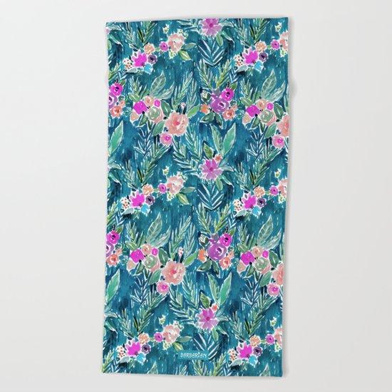 PARADISE FLORAL - NAVY Beach Towel