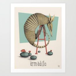 A is for Armadillo Art Print