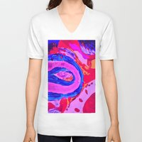 feet V-neck T-shirts featuring baby feet by Art Corner