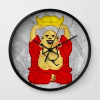 8bit Wall Clocks featuring Buddha (8bit) by Grizzly Logo