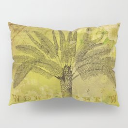 Vintage Journey palmtree typography travel collage Pillow Sham