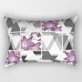 Pink lilies on a cramped gray background triangles . Rectangular Pillow