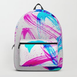 Expressive Brushstrokes of Hot Pink and Electric Cyan Backpack