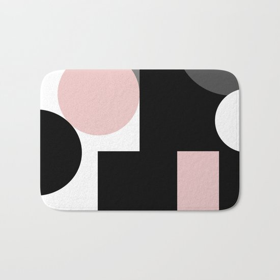 An abstract geometric pattern . Geometric shapes . Black pink white pattern . Bath Mat
