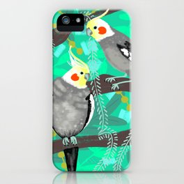 Cockatiels in Green iPhone Case