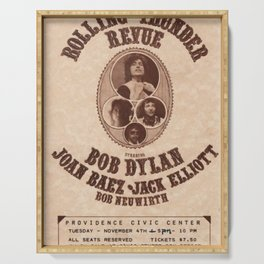 Vintage 1975 Bob Dylan and Rolling Thunder Review Flyer - Poster Providence Concert Serving Tray
