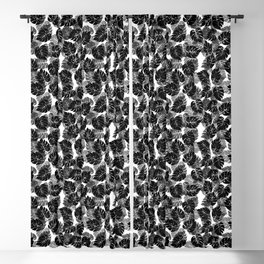 Black and White Monstera Tropical Leaf Blackout Curtain