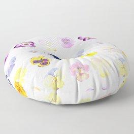 colorful pansies watercolor painting Floor Pillow