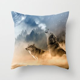 Wolfs under the mountain's sky Throw Pillow