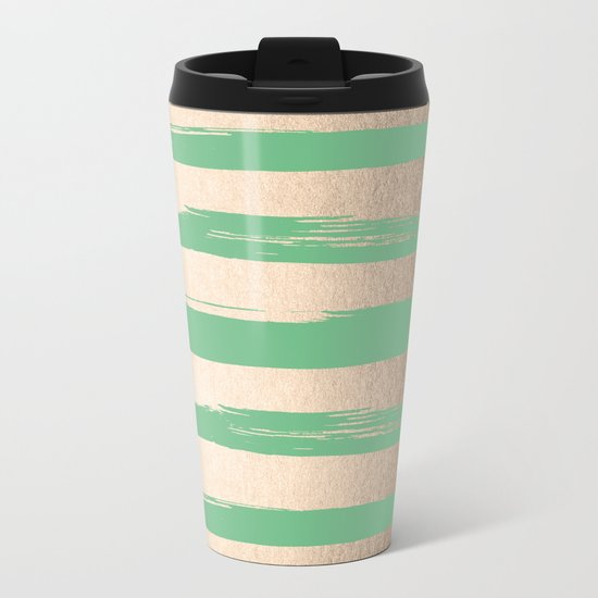 Painted Stripes Gold Tropical Green Metal Travel Mug