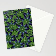 Vintage Blue Floral Pattern Collage Stationery Cards