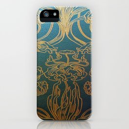 Art Nouveau,teal and gold iPhone Case