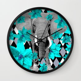 ELEPHANT and HARLEQUIN BLUE AND GRAY Wall Clock
