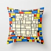 mondrian Throw Pillows featuring Mondrian by PureVintageLove