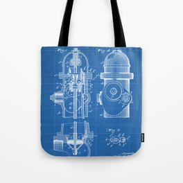 Fire Fighter Patent - Fire Hydrant Art - Blueprint Tote Bag