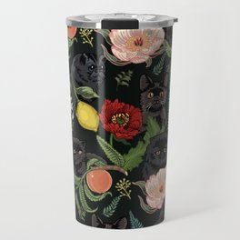 Botanical and Black Cats Travel Mug