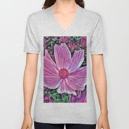 Pink Flower Macro Unisex V-Neck