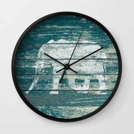 Elephant Silhouette on Blue Wood A215B Wall Clock