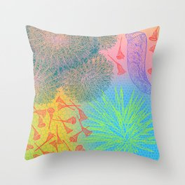 Red Bell Seed Pods and Cacti Throw Pillow