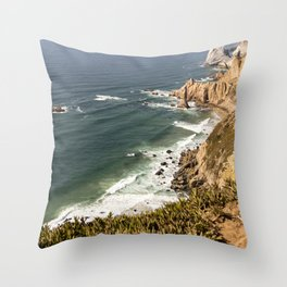 Portugal coast line Throw Pillow