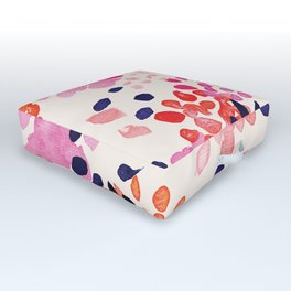 Flower abstract, watercolor floral pattern Outdoor Floor Cushion