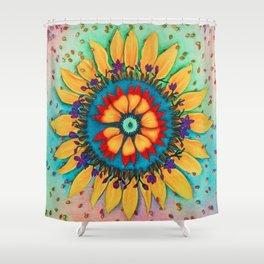 Petals and Seeds Mandala Shower Curtain